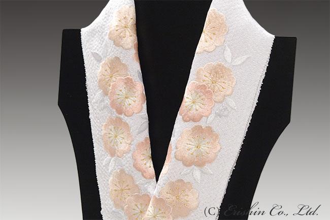 刺繍礼装半襟(白地)