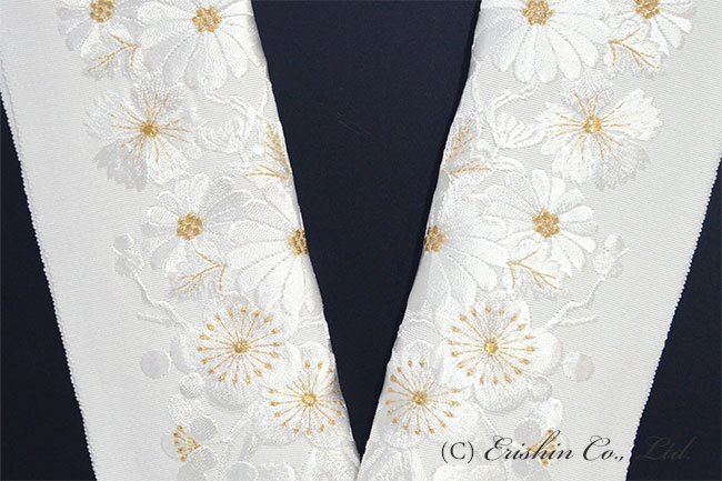 半衿 半襟 刺繍 礼装 白金
