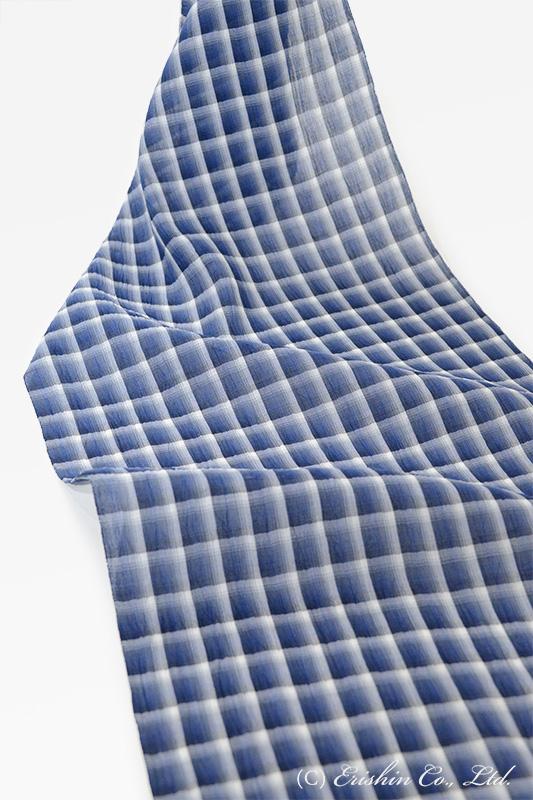 小千谷縮(チェック/ネイビーブルー)広巾