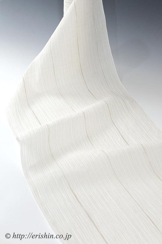 小千谷縮(縦縞/生成地に枯茶色)広巾