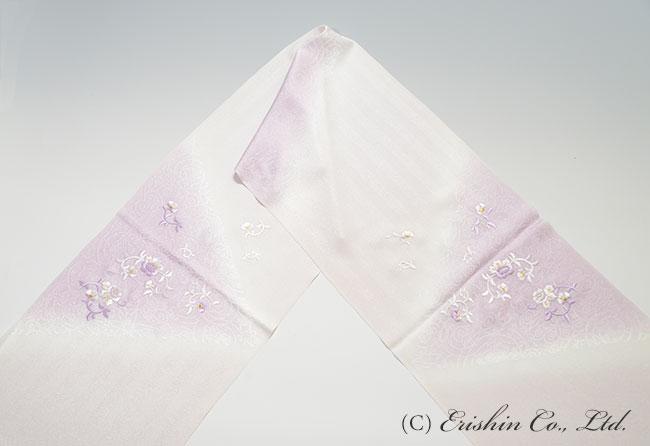 帯揚げ 白藤色 藤紫色