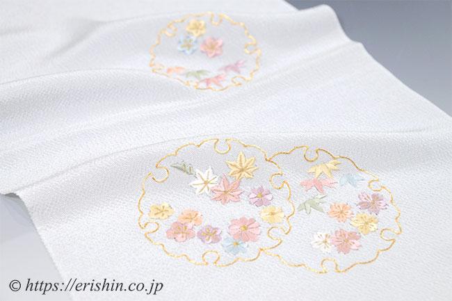 帯揚げ(雪輪小花・刺繍/白花色・縮緬)
