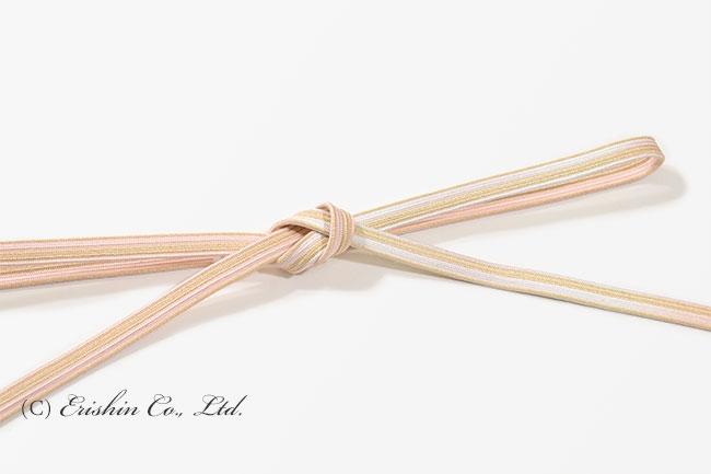 帯締め 貝の口組(退紅×白金色)