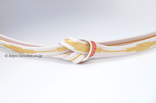 帯締め 高麗組矢羽根(白金と赤金)
