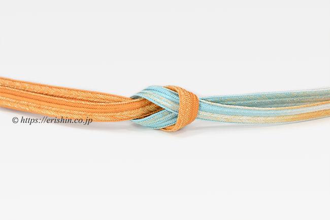 帯締め 大和高麗組・三色暈し/橙色×薄白群色