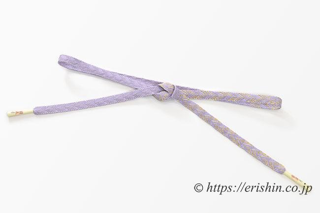 帯締め 縞菊/藤紫色