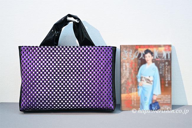 エナメルトートバッグ(博多織/紫市松プリズム) 和小物さくら