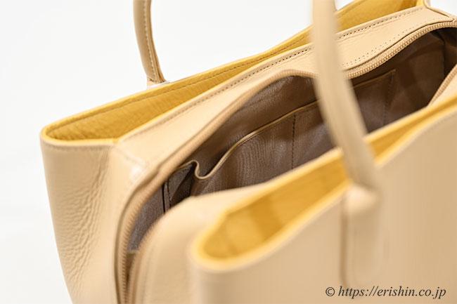 牛革シュリンクバッグ(ハチミツベージュ×サフランイエロー/タッセル付き) 和小物さくら