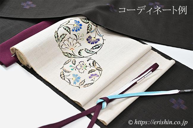 士乎路紬(飛び絣・弊店誂え)に染名古屋帯(花枝丸文)のコーディネート例