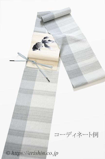 コーディネート例 小千谷縮(片身違い/ライトグレイ)広巾