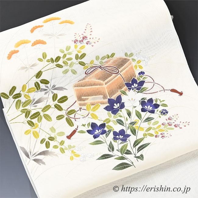 染名古屋帯(秋草に虫籠/紗紬)[夏・単衣向]お太鼓