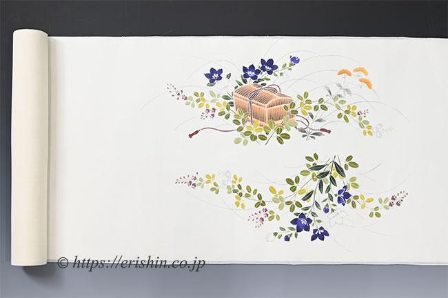 夏染帯(秋草に虫籠/紗紬)