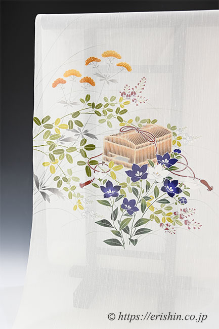 夏の染名古屋帯(秋草に虫籠/紗紬)お太鼓全体