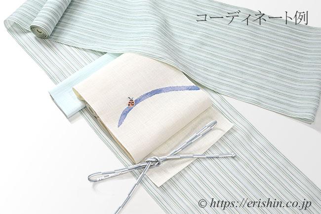 帯揚げ(無地/月白色・絽麻)のコーディネート例