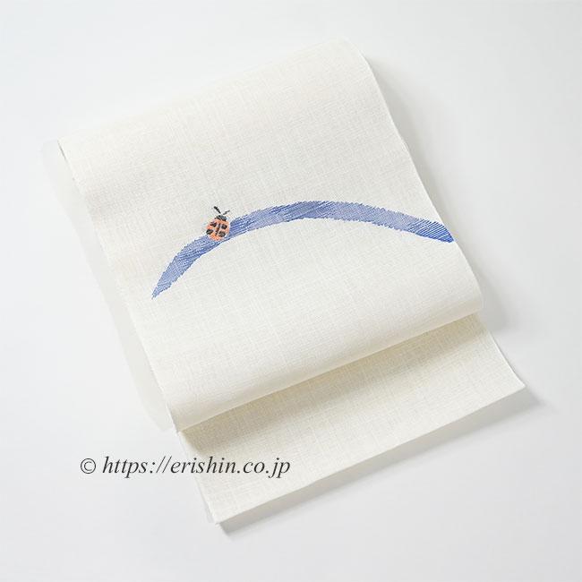 八寸織名古屋帯(てんとう虫・白地/麻)/夏・単衣向
