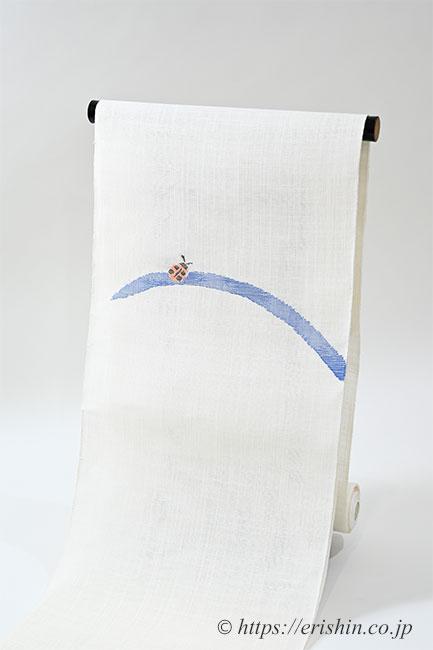 麻八寸織名古屋帯(てんとう虫)