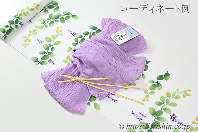 竺仙/ちくせん 綿絽白地浴衣(萩)とのコーディネート例
