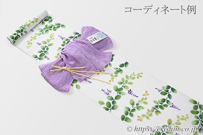 竺仙綿絽白地浴衣(萩)とのコーディネート例