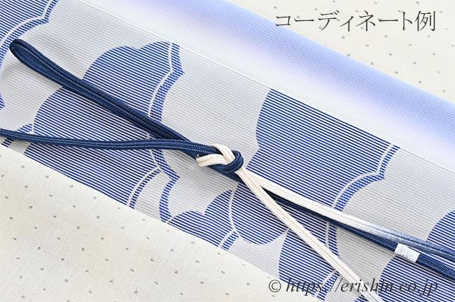 紗帯揚げ(二色暈かし/薄青藤色×青磁色)のコーディネート例