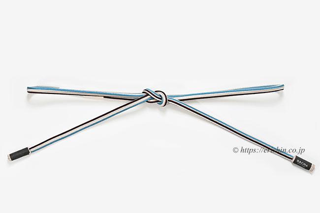 丸唐組帯締め(角杉縞三色/茶×青) 和小物さくら/SACRA