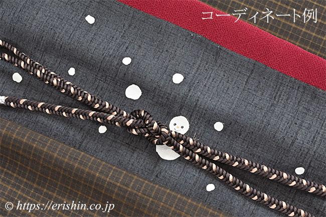 雪だるま染帯と久米島紬、帯締め、帯揚げとのコーディネート例