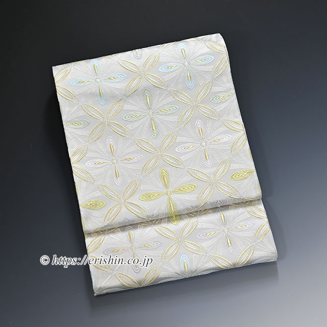 袋帯(七宝花菱文/白銀地)