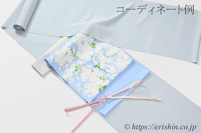 小紋(しけ引き・霞/薄秘色色)と染名古屋帯のコーディネート例