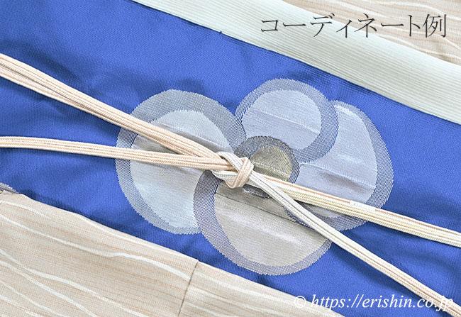 九寸織名古屋帯(貝花文)としけ引き小紋のコーディネート