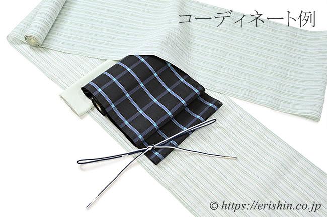 博多八寸織名古屋(格子に浅葱色のドット・紗/紺鼠地)のコーディネート例