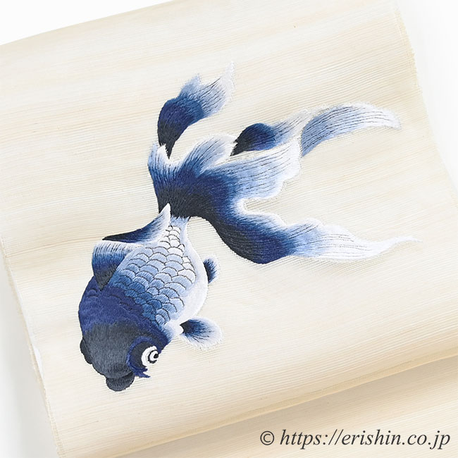刺繍名古屋帯(金魚・紺色/粗紗)[夏向]お太鼓