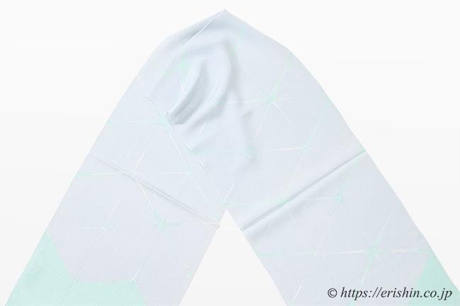 帯揚げ 板締め菱重ね 白花色