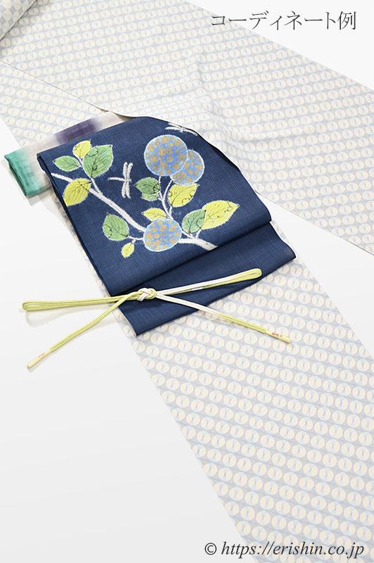 コーディネート例「小紋(七宝繋ぎ・丸の連なり)と夏単衣向き染名古屋帯」