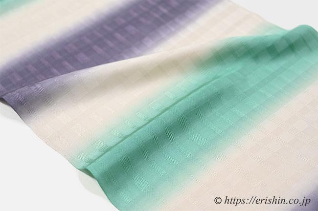 帯揚げ(二色段市松地紋/若竹色×藤納戸色) 和小物さくら
