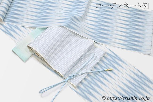 八寸織名古屋帯(浮遊/紗)と明石縮とのコーディネート例