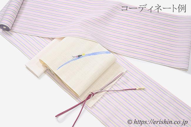 麻八寸織名古屋帯(蛍)と小千谷縮とのコーディネート例