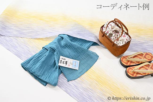麻兵児帯(納戸色/小千谷縮)と小千谷縮とのコーディネート例