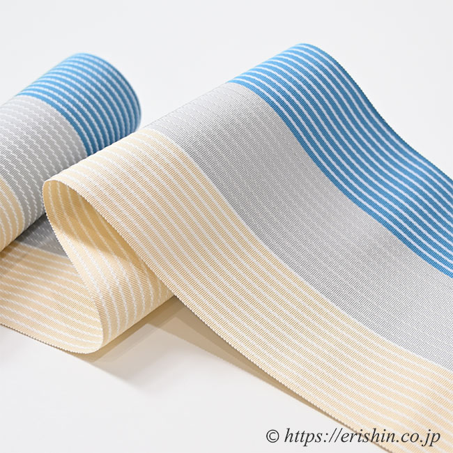 博多半巾帯(麻絹/三色縞・縹×灰×薄砥粉色)
