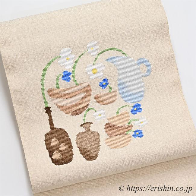 八寸織名古屋帯(北欧花器/生成色) 洛風林
