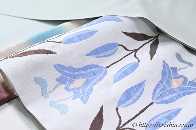 洛風林 九寸織名古屋帯(百合文/月白色)のコーディネート例