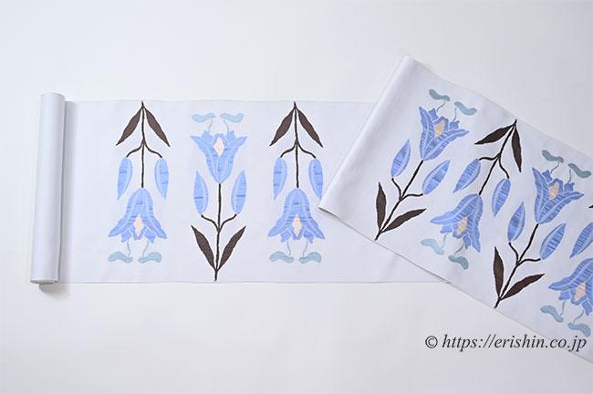 洛風林 九寸織名古屋帯(百合文/月白色)