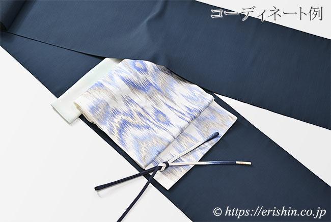 洛風林 九寸織名古屋帯(太子間道/白錬色)のコーディネート例