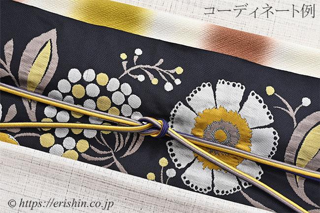洛風林 九寸織名古屋帯(キエフ花唐草/橡色〔つるばみいろ〕)のコーディネート例