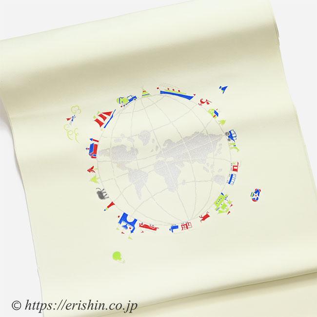 染名古屋帯(世界は巡る/塩瀬) 染めの野口(えり新誂え色)