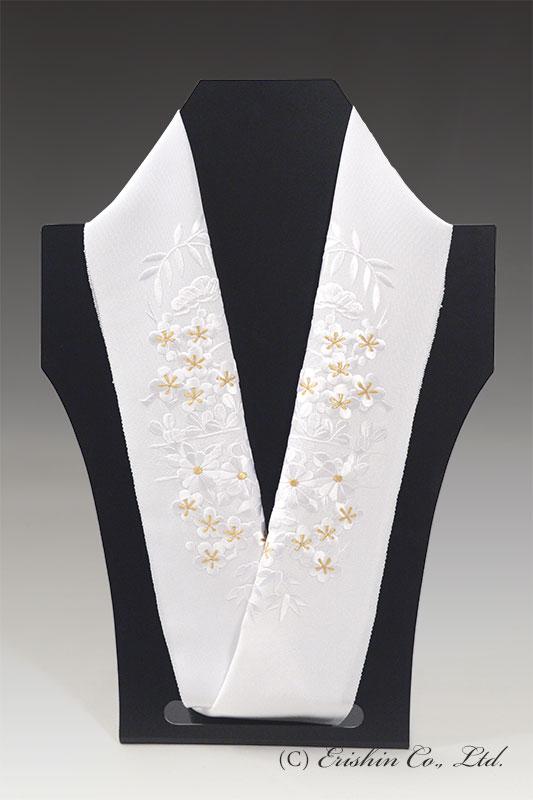 刺繍礼装半襟(ヱ霞に四季の花・白に金/白地)