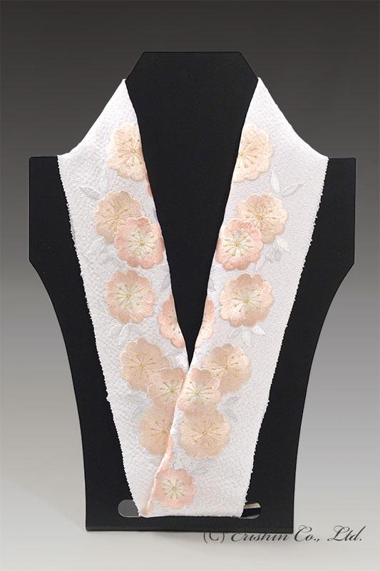 刺繍礼装半襟(牡丹桜/白地)