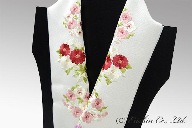 刺繍半襟(四季花丸紋/白地)