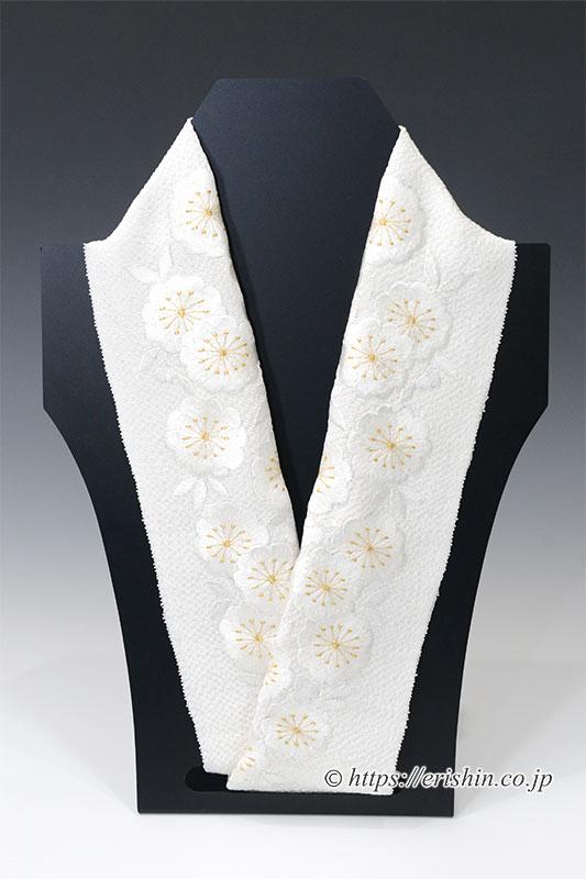 刺繍礼装半襟(八重桜/白地)