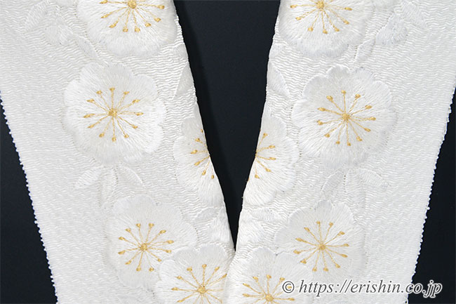 刺繍半衿 半襟 白 八重桜