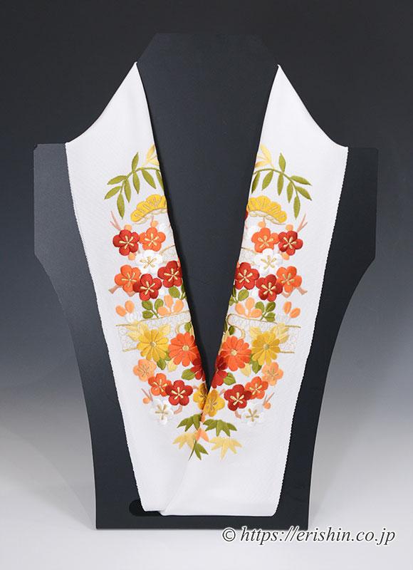 刺繍礼装半襟(ヱ霞に四季の花・暖色彩/白地)