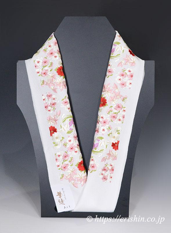 刺繍礼装半襟(四季花丸紋/白地)